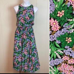 Vintage 80s 90s Fit & Flare Spring Floral Dress
